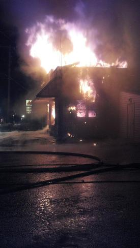 Fire consumes the offices on Side 'A'. Photo: FF M. Storey